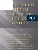 Role of Multi National Companies in Indian Context