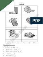 English Worksheet - Clothes