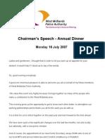 Speech at Annual Dinner