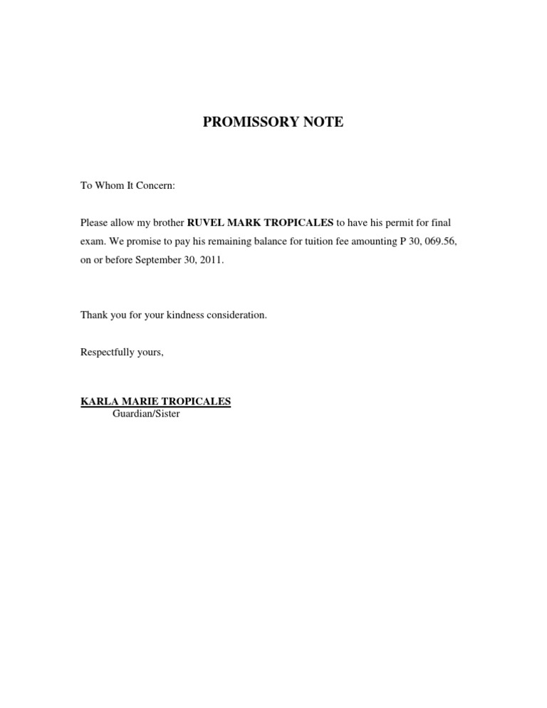 Promissory Note – Sample Promissory Letter for Payment