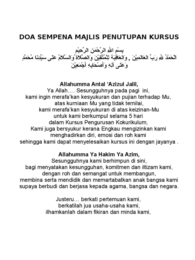 Doa Sempena Majlis Penutupan Kursus