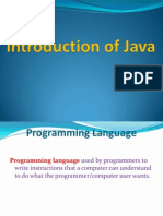 Introduction of Java