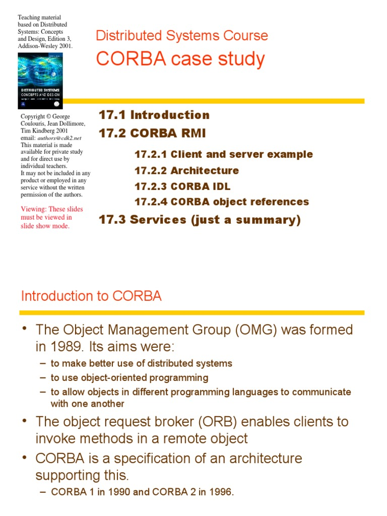 Chapter 17 Corba Case Study Common Object Request Broker Architecture Method Computer Programming