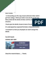ICMHRD Post Admission Letter