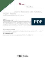 Claude Cahen. Un document concernant les Melkites et les Latins d'Antioche au temps des Croisades. Revue des études byzantines, tome 29, 1971. pp. 285-292.