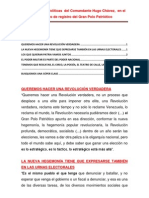 Orientaciones Políticas  del Comandante Hugo Chávez,  en el operativo de registro del Gran Polo Patriotico.