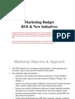 Marketing Budget - ROI analysis - Sample-