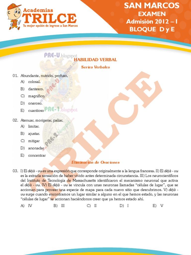 EXAMEN DE ADMISION SAN MARCOS 2012-I SOLUCIONARIO