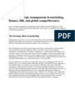 Role of Strategic Management in Marketing 1