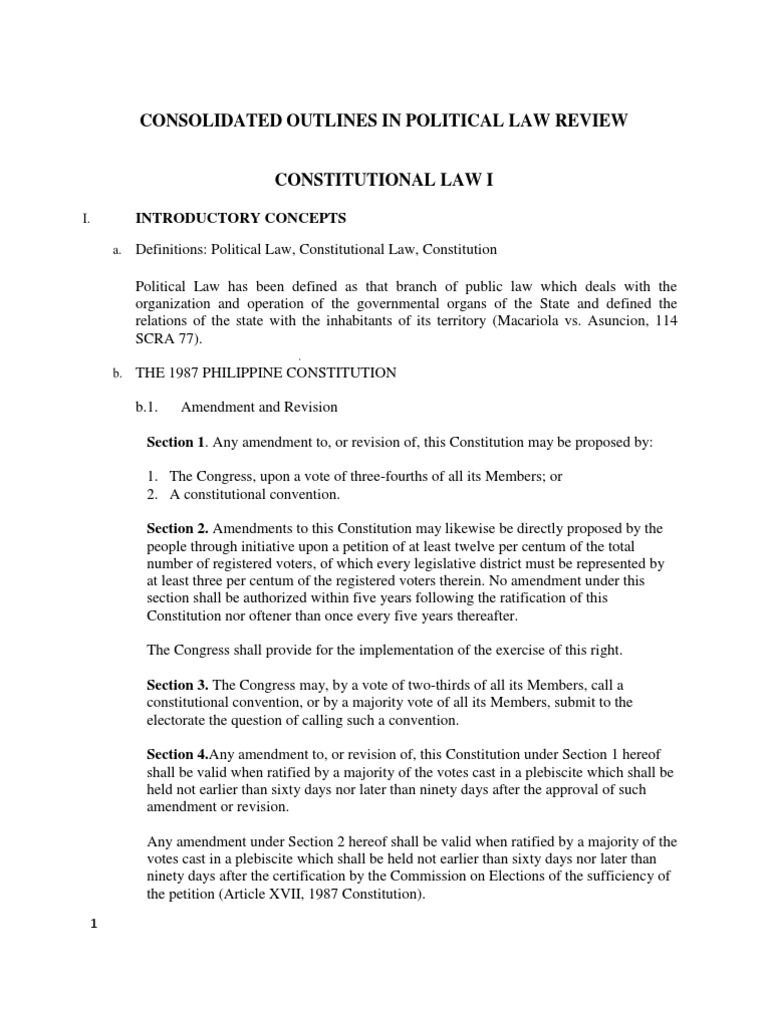 political law reviewer Considered self-executing mandatory rather directory and prospective rather  than retroactive (nachura, reviewer in political law, p3) constitutional  law.