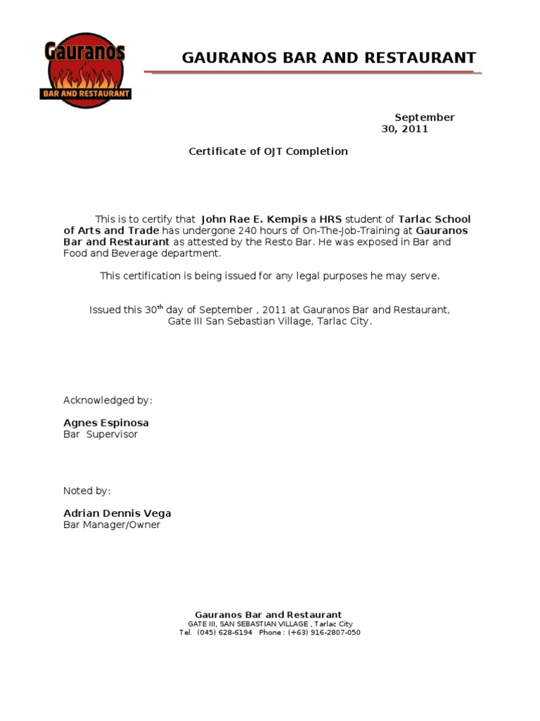 OJT Certificate Food Retailers – Example of Certificate of Completion