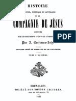 Histoire Religieuse Politique Et Litter a Ire de La Compagnie de Jesus (Tome 5)