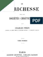 De La Richesse Dans Les Societes Chretiennes (Tome 1)