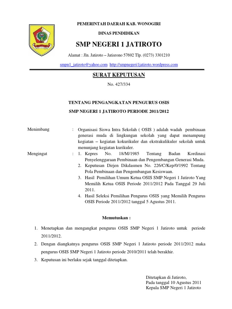 Contoh Surat Dinas Osis Untuk Anggota Osis Simak Gambar