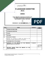 Agenda Senate Language Committee - 12 October 2011