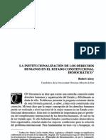 Alexy. La institucionalización de los DDHH