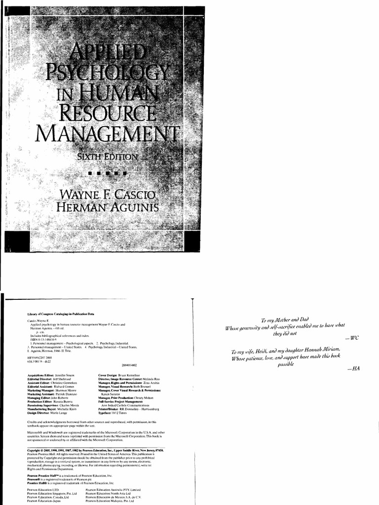Applied Psychology in Human Resource Management 6th