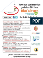 FORMULARIO DE INSCRIPCION - CONFERENCIAS BIOCULTURA 2011 - EL GRANERO INTEGRAL