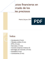 Productos Financieros Del Mercado Del Oro Jose Luis San Vicente