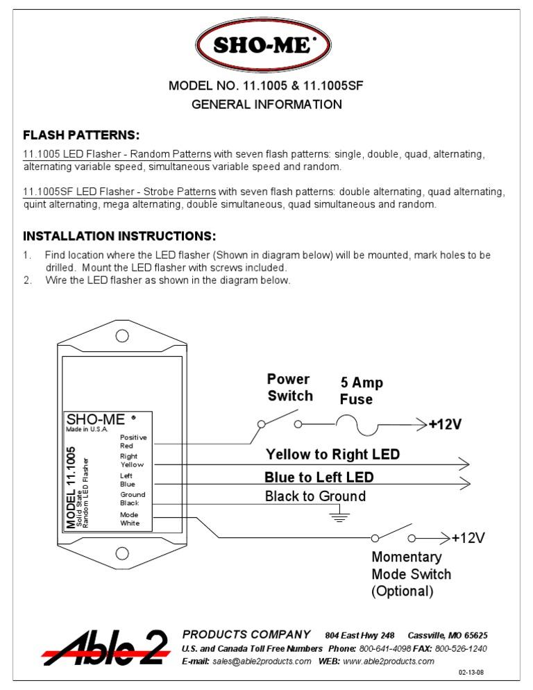 sho me 11 1005sf instructions rh scribd com Sho Me 11.1005Sf Flasher Model LED Reverse Lights