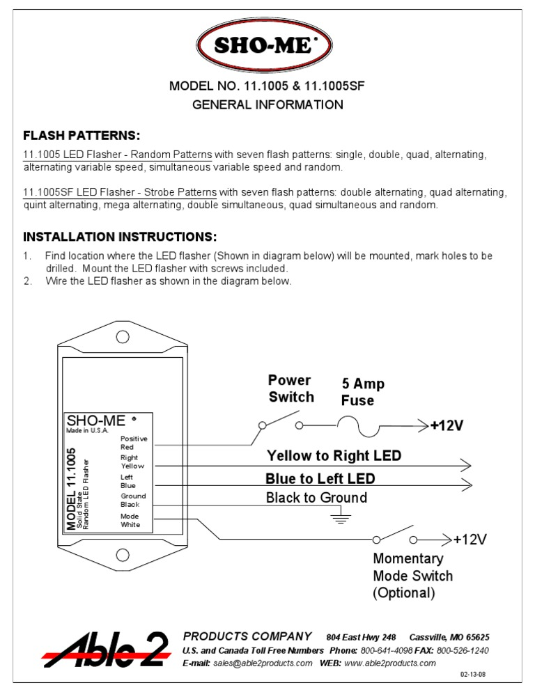sho me 11 1005sf instructions Sho Me Mini Light Bar at Sho Me Led Flasher Wire Diagram