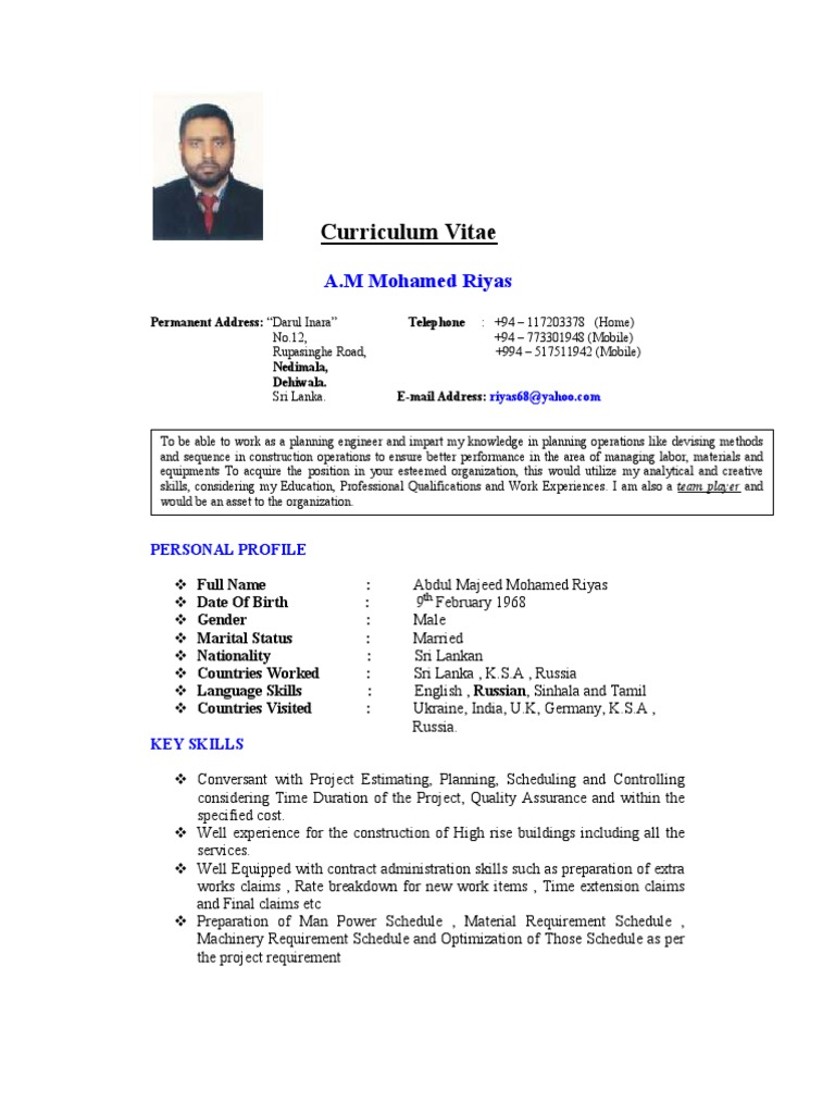 002 Curriculum Vitae 05102011 Srplanning Enginner Project