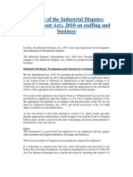 Impact of the Industrial Disputes (Amendment Act), 2010 on Staffing and Business