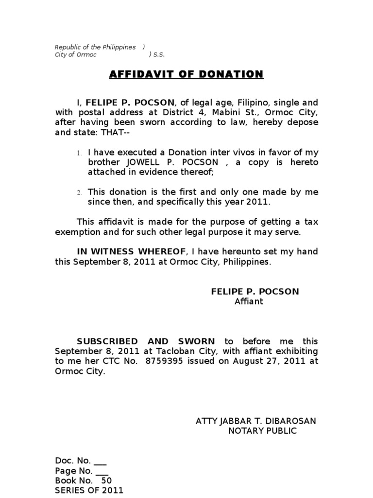 affidavit of donation