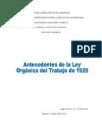 Antecedentes de la Ley Orgánica del Trabajo de 1928