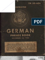 TM 30-606 German Phrase Book 1943 Color