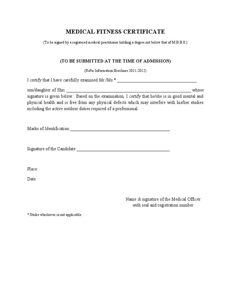 medical health certificate format
