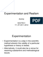 Activity on Experimentation and Realism