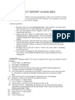 Project Report Guideline 2011