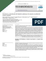 Prevalencia y distribución del depósito pulmonar de amianto en población urbana española.