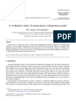 A Verification Study of Steam-ejector Refrigeration Model
