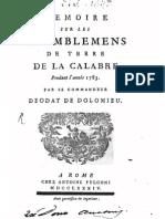 D. De Dolomieu, Memoire sur les tremblemens de terre de la Calabre pendant l'an 1783