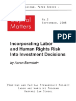 Aaron Bernstein Sept 2008 Harvard_Incorporating Labor and Human Rights Risk