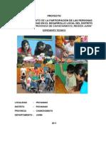 PROYECTO -FORTALECIMIENTO DE LA PARTICIPACIÓN DE LAS PERSONAS CON DISCAPACIDAD EN EL DESARROLLO LOCAL DEL DISTRITO DE PICHANAKI