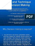 Tools and Technique of Decision Making Lecture 5