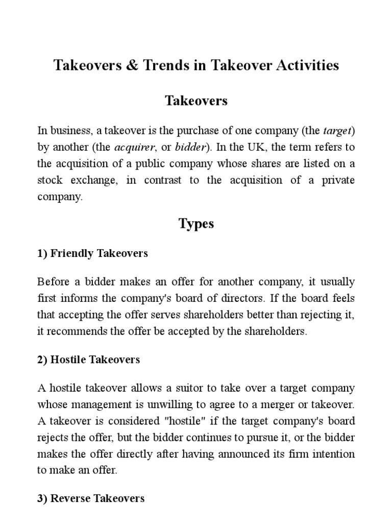 Takeovers and Trends in Takeover Activities | Takeover | Companies