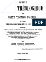 Petite somme théologique de Saint Thomas d Aquin (Tome 1)