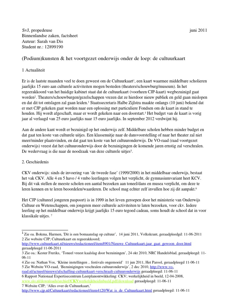 Factsheet Ckv Middelbaar Onderwijs Sarah Van Dis