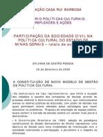 FCRB Participacao Da Sociedade Civil Na Politica Cultural de Minas Gerais