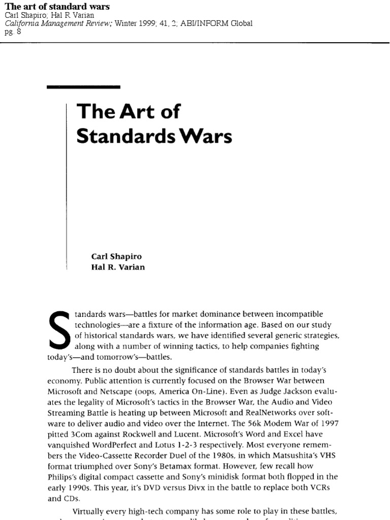 The Art of Standards Wars | Environmental Law | Copyright