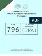 Tes Potensi Akademik SNMPTN 2011