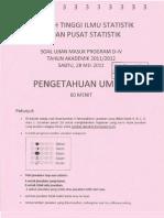 Soal STIS 2011 Imlu Pengetahuan Umum (IPU)