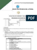 Syllabus ECOLOGÍA Y EDUCACIÓN AMBIENTAL II TÉRMINO-2011