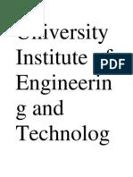 University Institute of Engineering and Technology Pan Jab UniversityChandigarhSynopsis Minor Project On