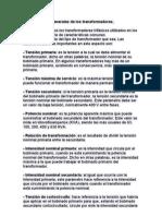 Características generales de los transformadores