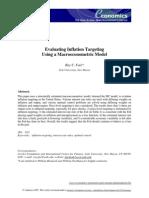 Evaluating Inflation Targeting Using a Macro Eco No Metric Model